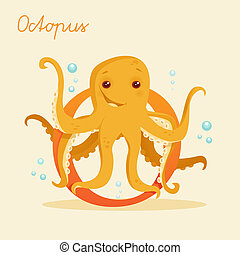 Animal alphabet with octopus