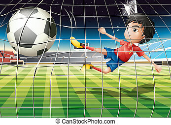 A boy kicking the ball at the soccer field - Illustration of...