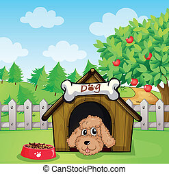 A puppy and his dog food - Illustration of a puppy and his...