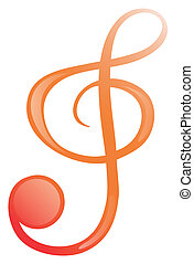 A G-clef - Illustration of a g-clef on a white background