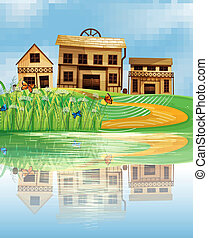 A pond with a reflection of the wooden houses - Illustration...