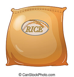 A sack of rice - Illustration of a sack of rice on a white...