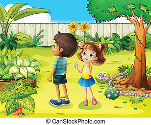 A boy and a girl discussing in the garden - Illustration of...