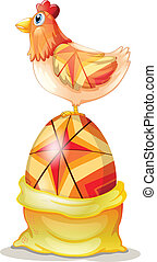 The chicken at the top of a colorful big egg - Illustration...