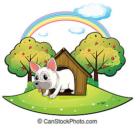 A dog inside the dog house with an apple tree at the back