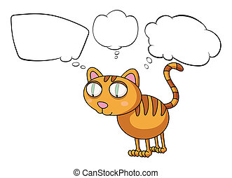 The cat thinking - Illustration of the cat thinking on a...