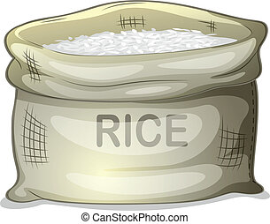 A sack of white rice - Illustration of a sack of white rice...