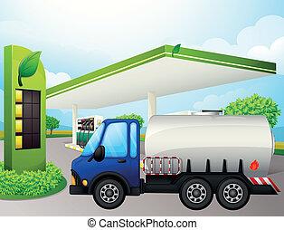 An oil tanker in front of a gasoline station - Illustration...