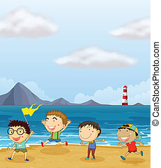 Four boys playing at the beach - Illustration of the four...