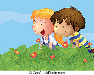 A boy and a girl in the garden - Illustration of a boy and a...