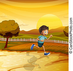 A view of the afternoon with a young boy running -...