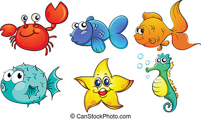 The different sea creatures - Illustration of the different...