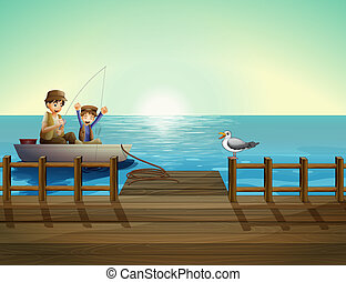 A father and a child fishing near the bridge - Illustration...