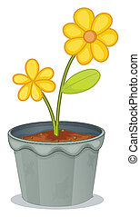 A gray pot with a flower