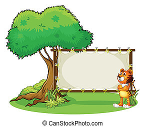 A tiger beside the empty framed signboard - Illustration of...