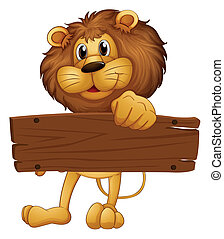 An empty wooden board brought by the lion - Illustration of...