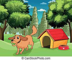 A dog playing outside a dog house - Illustration of a dog...