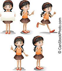 cinco, diferente, posições, menina