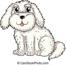 A white puppy - Illustration of a white puppy on a white...