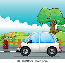 A white car along the street - Illustration of a white car...