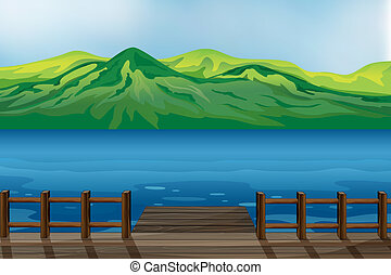 A blue calm sea - Illustration of a blue calm sea