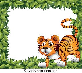 A frame with a tiger - Illustration of a frame with a tiger