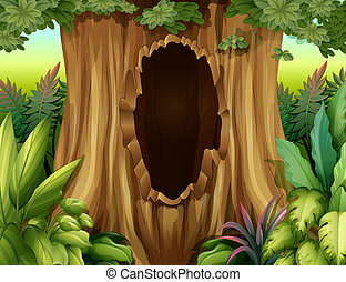 A hole in a big tree - Illustration of a hole in a big tree