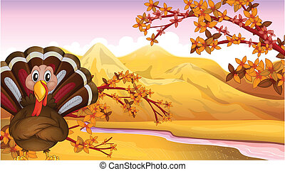 An autumn view with a turkey - Illustration of an autumn...