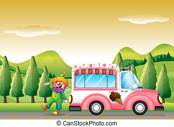 The clown and the pink icecream bus - Illustration of the...