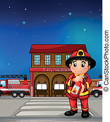 A fireman with an extinguisher - Illustration of a fireman...