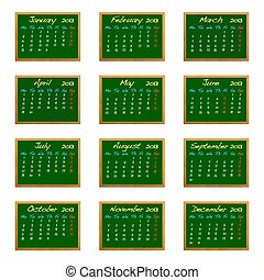 2013 calendar - Illustration with a 2013 calendar on green...