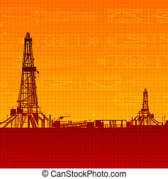 Oil rig silhouettes and orange sky. Vector illustration,...