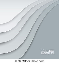 White papers with corner curl, layer by layer Vector...