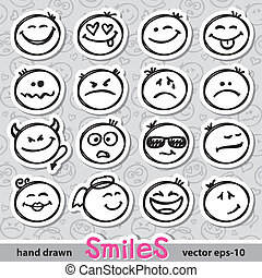 set of smiles - set of hand drawn smiles on realistic paper...