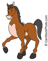 Proud Horse - hand drawn cartoon of a happy brown horse