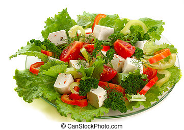 vegetable salad with cheese,tomato, pepper,lettuce,parsley