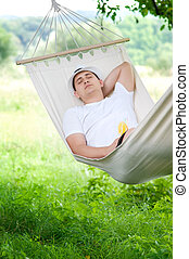 Sleeping on hammock