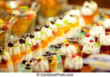 Cream and fruit dessert buffet