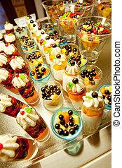 Cream and fruit dessert close up - Cream and fruit dessert...