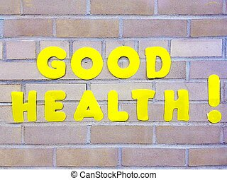 Good Health sign symbol concept - Bright yellow Good Health...