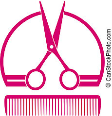 barbershop icon with scissors - pink concept barbershop icon...