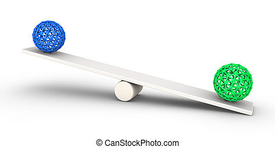 Two spheres balance concept - Two spheres on a seesaw and...