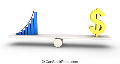 Good results graph equals with dollar symbol - 3d rising...
