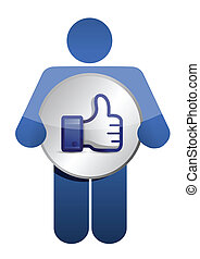 icon like thumbs up illustration design over white