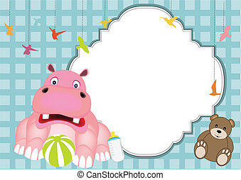 baby hippo - cute hippo baby vector of illustration
