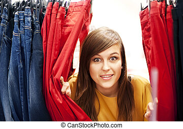 Hide and seek at clothing store