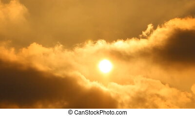 Sun. Sunrise, sunset. Clouds, smoke
