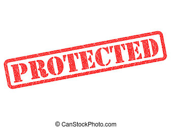PROTECTED Stamp - PROTECTED rubber stamp over a white...