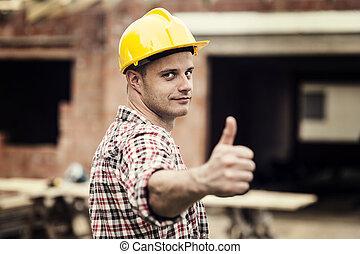 construction, ouvrier, Faire gestes, pouces, haut