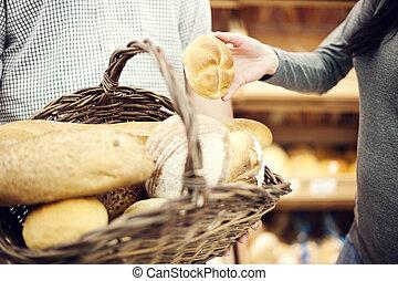 Basket filled baking bread